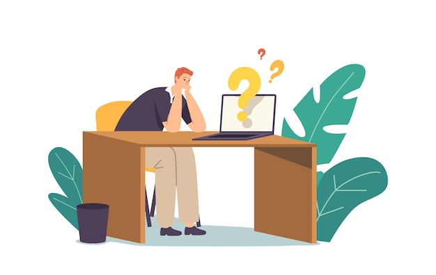 Znalezienie odpowiedzi, koncepcja badań kreatywnych pomysłów. biznesmen charakter usiądź przy biurku z laptopem i znakami zapytania, szukając informacji na temat rozwoju projektu. ilustracja wektorowa kreskówka ludzie