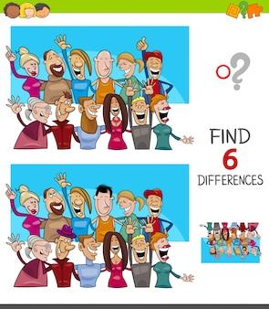 Znalezienie sześciu różnic z postaciami ludzi
