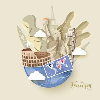 Znane za granicą zabytki i mapa świata na światowy dzień turystyki