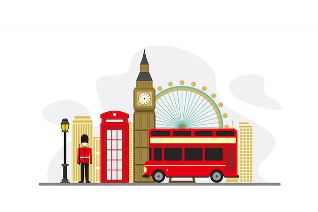 Znane zabytki londynu w tle