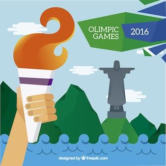 Znicz olimpijski w brazylii 2016 tle
