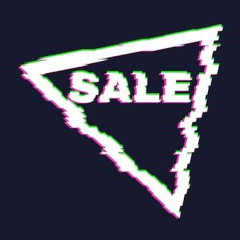 Zniekształcony baner sprzedaży glitch z efektem błędu na krawędziach i w tekście. ilustracja wektorowa.