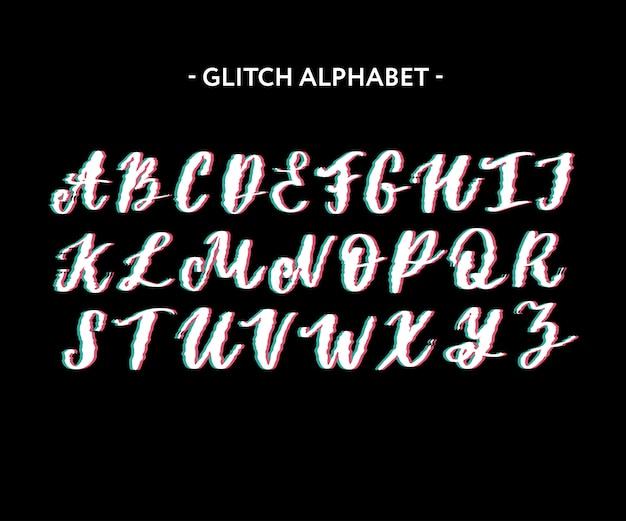 Zniekształcony krój w zniekształconym stylu. litery i cyfry, wektor.