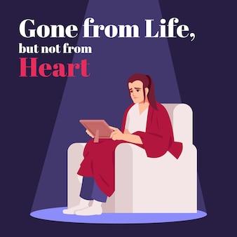 Zniknął z życia, ale nie z serca makieta postu w mediach społecznościowych. smutek. szablon projektu banera internetowego reklamowego. wzmacniacz mediów społecznościowych, układ treści. plakat promocyjny, reklamy drukowane z płaskimi ilustracjami