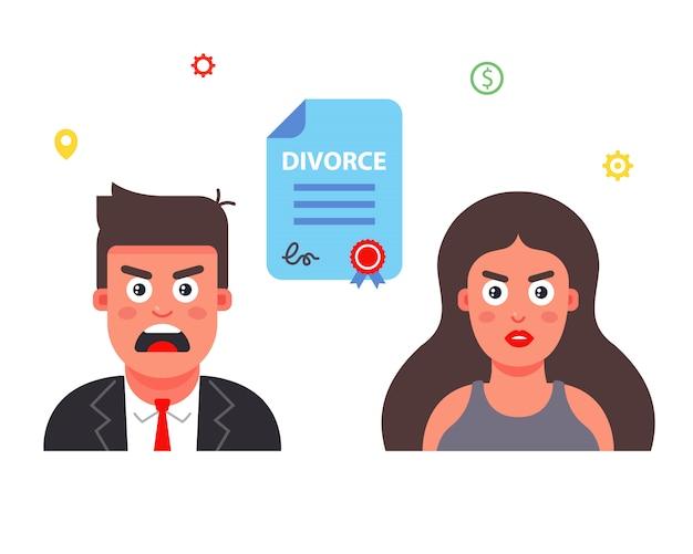 Zniszczenie rodziny. podpisać dokument rozwodowy. ilustracja płaski charakter.