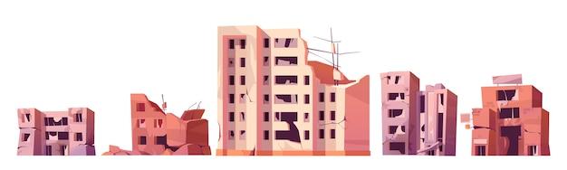 Zniszczone budynki miejskie po wojnie lub trzęsieniu ziemi.