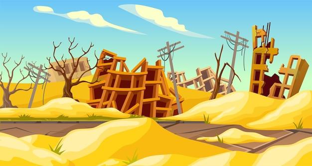 Zniszczone Budynki Po Burzy Piaskowej Trzęsienie Ziemi Burza Tornado Klęska żywiołowa Premium Wektorów
