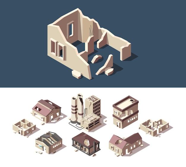 Zniszczone domy. izometryczny zestaw opuszczonych budynków nieruchomość zniszczona zniszczenie okien ruiny zestaw miast.