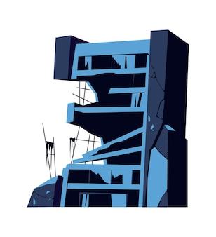 Zniszczony budynek, uszkodzona konstrukcja, konsekwencje katastrofy, kataklizmu lub wojny, ilustracja kreskówka na białym tle wektor
