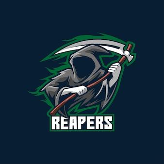 Żniwiarz logo esport szablon horror duch zły mroczny potwór