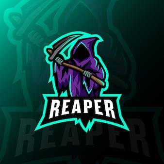 Żniwiarza maskotki logo esportowa hazard ilustracja