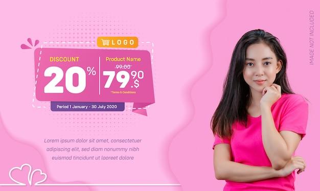 Zniżki social media banner sprzedaż płyn różowy tło