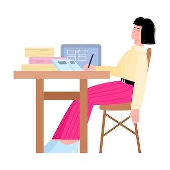 Znudzona zmęczona kobieta pracownik biurowy w miejscu pracy