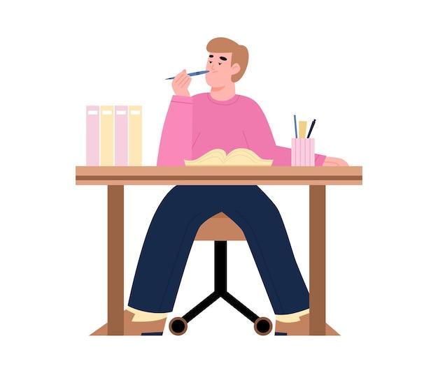 Znudzony, leniwy, zmęczony, pracownik biurowy lub ilustracja student