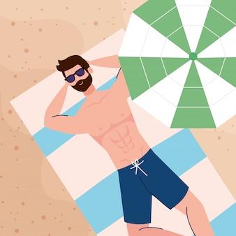 Zobacz antenę, człowiek leżący, opalanie na plaży, sezon letnich wakacji