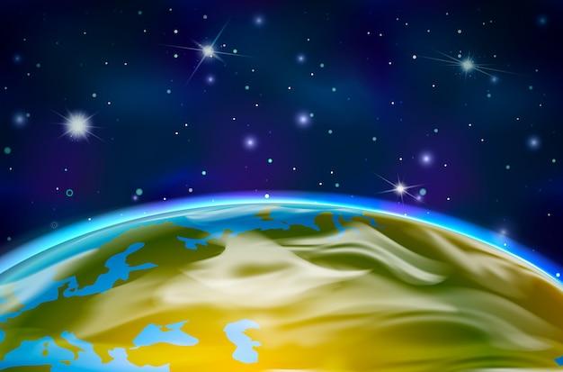 Zobacz na planecie ziemi z orbity na tle przestrzeni kosmicznej z jasnymi gwiazdami i konstelacjami