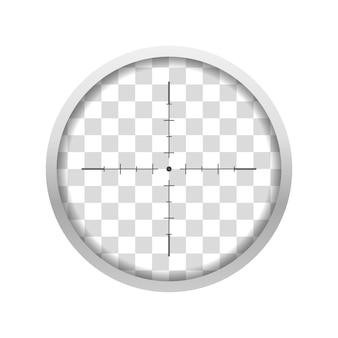 Zobacz przez celownik teleskopowy z przezroczystą soczewką gradientową. luneta snajperska ze skalą pomiarową pośrodku. optyczne urządzenie obserwacyjne. ilustracja wektorowa