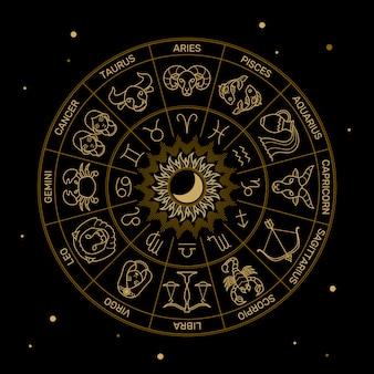 Zodiak astrologia horoskop ilustracja złota linia na czarnym minimalistycznym stylu.