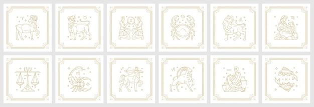 Zodiak astrologia horoskop znaki zestaw ilustracji wektorowych liniowy projekt