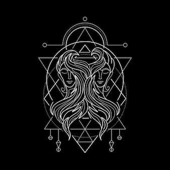 Zodiak gemini styl geometri