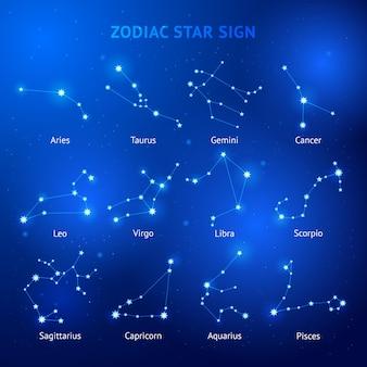 Zodiak horoskop gwiazda znaki ilustracje.