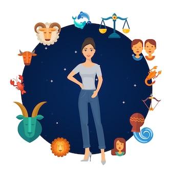 Zodiak podpisuje koło astrologiczne z dziewczyną w centrum. runda zodiakalna. kalendarz horoskop astrologiczny.