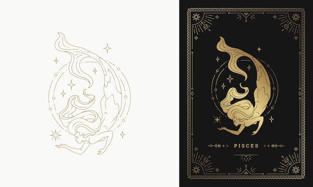 Zodiak ryby dziewczyna znak horoskop znak linia sylwetka ilustracja projekt