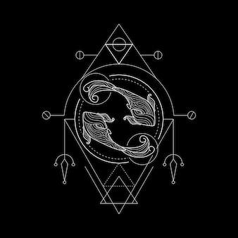 Zodiak ryby geometri style