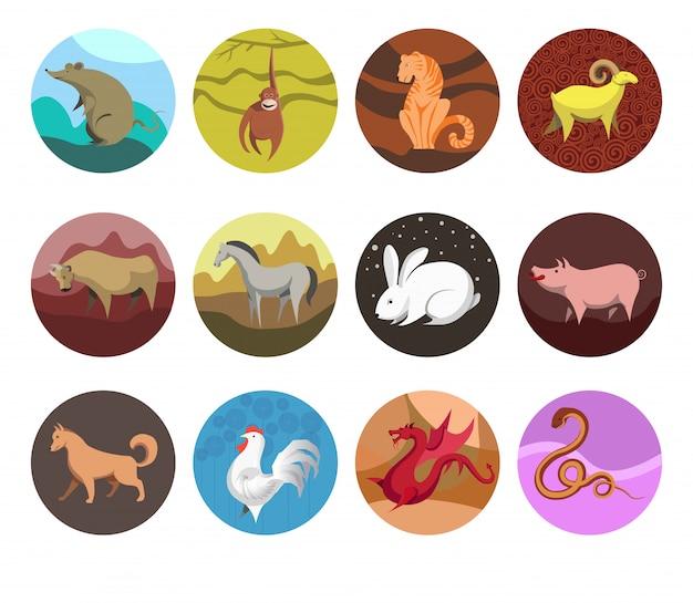 Zodiak ustaw ikony zwierząt zodiaku dla horoskopu.