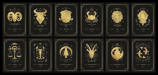 Zodiaku astrologia horoskop karty linoryt sylwetki projekt zestaw ilustracji wektorowych