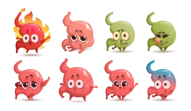 Żołądek kreskówka ładny zdrowy i niezdrowy maskotka zgaga ból brzucha nudności i wymioty obrzęk i szczęśliwy narząd brzucha demonstruje moc zestaw ikon opieki zdrowotnej i medycyny