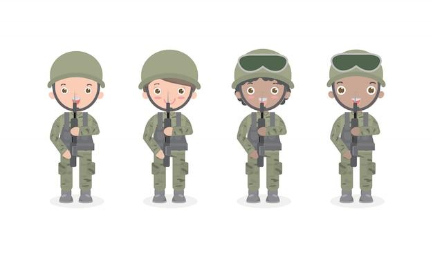 Żołnierski. mężczyźni i kobiety. mieszkanie postać z kreskówki projekt odizolowywał us army, żołnierzy odosobniona ilustracja.
