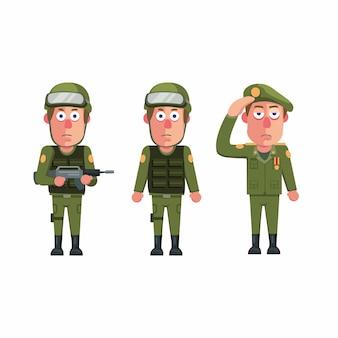 Żołnierz armii mężczyzna jednolity charakter zestaw ikon koncepcja w kreskówce