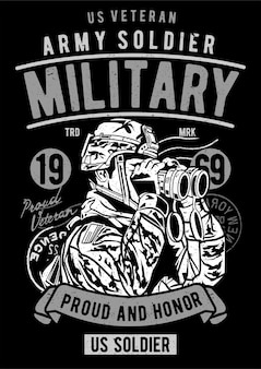 Żołnierz armii, plakat vintage ilustracji.