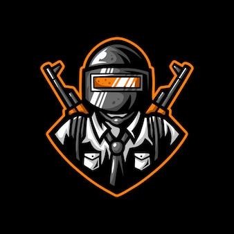 Żołnierz hełm maskotka logo gra znaków