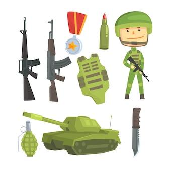 Żołnierz i profesjonalna broń wojskowa, zestaw do projektowania etykiet.