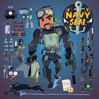 Żołnierz marynarki wojennej z zestawem narzędzi, broni i sprzętu.