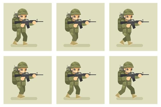 Żołnierz płaska konstrukcja uruchomić postać animacji. wojskowa armia, akcja człowieka w mundurze