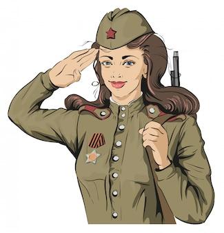 Żołnierz rosyjskiej dziewczyny. żeński żołnierz w retro mundurach wojskowych. 9 maja dzień zwycięstwa