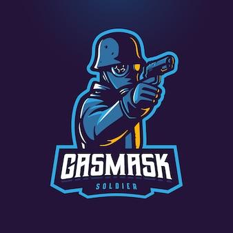 Żołnierz trzyma pistolet z maską gazową e-logo maskotka