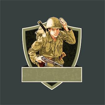 Żołnierz ww2 rozmieszczony do bitwy