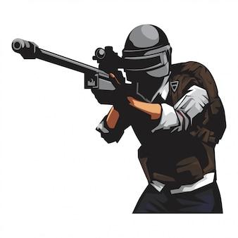 Żołnierz z pistoletem snajperskim