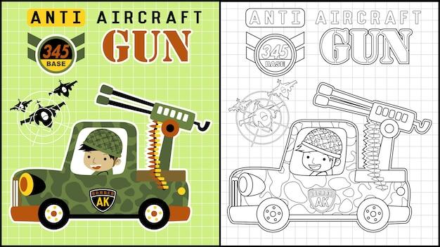 Żołnierza kreskówka na wojskowej ciężarówce