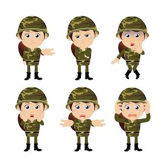 Żołnierze armii w różnych pozach