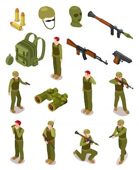 Żołnierze izometryczni. wojskowe siły specjalne, wojownicy w mundurach wojskowych, amunicja i broń. 3d na białym tle wektor zestaw
