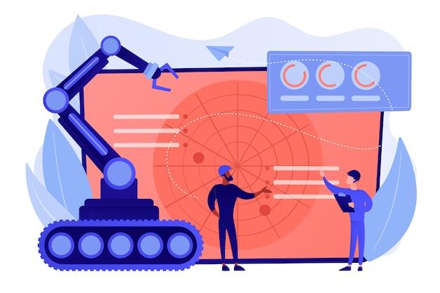 Żołnierze przy radarze planujący użycie robota do działań wojennych. robotyka wojskowa, zautomatyzowane maszyny wojskowe, koncepcja technologii robotów wojskowych