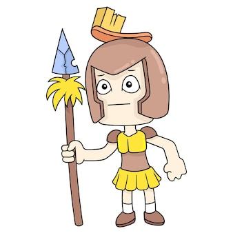 Żołnierze wojny noszący zbroję rycerza ostrą włócznią, ilustracja wektorowa sztuki. doodle ikona obrazu kawaii.