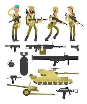 Żołnierze wojskowi z kolekcją amunicji, broni i broni