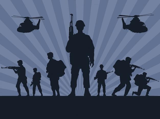 Żołnierze wojskowi z sylwetkami broni i helikopterów