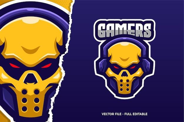 Żółta czaszka e-sport szablon logo gry